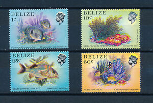 BELIZE 1984 DEFINITIVES 1c 10c 25c 60c WITH MINOR SHIFT OF H.M. QUEEN'S HEAD MNH