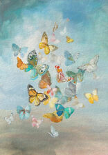 Dance of the Butterflies Butterfly Watercolour Painting Canvas Print A3