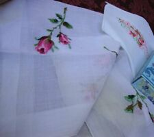 Two Vintage Linens White Cotton Embroidered Handkerchief Wedding Batiste Cambric