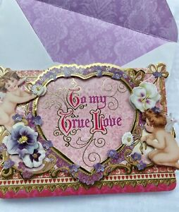 8 Reproduction Victorian Love Note Valentine's Card Dimensional w/envelopes