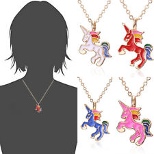 Enamel Cartoon Horse Pendant Women Girls Children Kids Necklace Jewelry Gifts