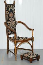 CIRCA 1820 Henry Holmes gillows Lancaster George III armchair & Stool HH tamponnée