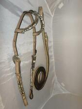 Split Ear Show Headstall &Reigns-White Metal/Silver Ferrules/Fittings Full/Horse
