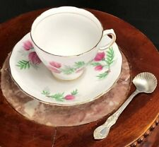 Royal Vale Bone China Tea Cup & Saucer- multi color floral design + Sugar Spoon