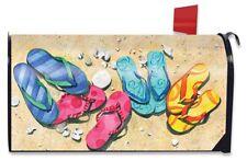 Beachy Flip Flops Summer Magnetic Mailbox Cover Nautical Seashells