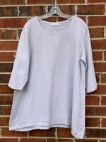 Bryn Walker Tunic Top Shirt XS Small 100% Linen Lagenlook Purple Blouse USA