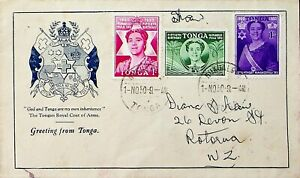 TONGA 1950 NIMANGO FUKU TAU 3v ON COAT OF ARMS ILLUSTRATED COVER TO NZ