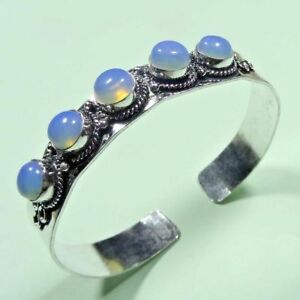 Fire Opal 925 Sterling Silver Plated Female Bangle Cuff Bracelet Jewelry J211-6