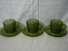 3 Vintage Anchor Hocking Avocado Green Soreno Textured Glass Cups and Saucers