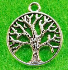 50Pcs. WHOLESALE Tibetan Silver TREE In Ring Charms Pendants Earring Drops Q0884