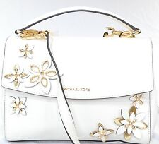 NWT AUTH MICHAEL KORS FLOWER OPTIC WHITE AVA LEATHER SATCHEL MSRP $328.00 #627M