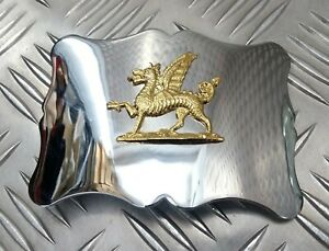Genuine Military Issue Large Parade Chrome Buckle Royal Welsh Dragon Insignia
