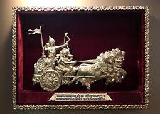 Brass Chariot Wall Sculpture Warrior Arjuna with Krishna - The Mahabharata