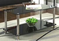 Black Glass Chrome 2 Tier Coffee Table Living Room Furniture Modern Designer New