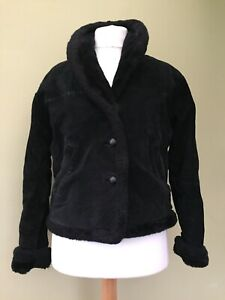 Leather Suede Jacket Coat Outer Edge  jacket bomber small 10 12 Sherpa black 1C