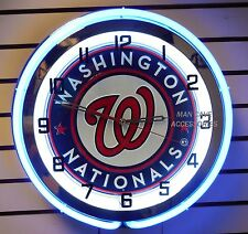"18"" WASHINGTON NATIONALS Baseball Sign Double Neon Clock"
