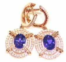 Vintage D Block Engagement Earrings 3.70Ct 14K Gold Natural Tanzanite Diamond