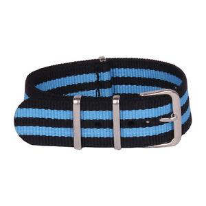 24mm 20mm 22mm 18mm Fiber Watch Black Blue Stripe Nylon Strap Wristwatch Band