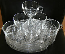 16 Pc Federal Glass Wheat Snack Sets - 8 Cups & 8 Trays Showers Weddings
