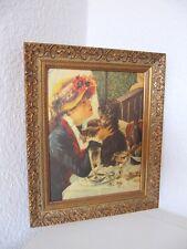 Öldruck n. Auguste Renoir LA FEMME AU CHIEN  im Holzrahmen