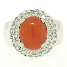 14K White Gold Oval Cabochon Red Coral and 2.10ctw Dome Pave Diamond Halo Ring