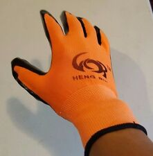 10 PAIRS OF LATEX RUBBER PALM STRING KNIT WORK GLOVES ( ORANGE ONE SIZE FIT ALL