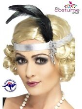 1920s Silver Satin Flapper/Charleston headband Elasticated Headpiece one size