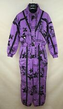 VINTAGE WOMENS PADDED SKI SUIT ONE PIECE EU-46 ALL IN ONE FLOWERED