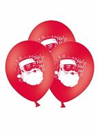 """Christmas Santa 12"""" Printed on Red Latex Balloons By Party Decor pack of 5"""