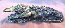 Zuni Museum Quality Serpentine HUGE Alligator on Rock by Calvin Weeka C0235