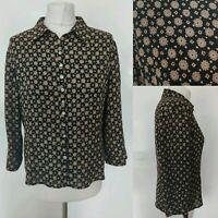 Vintage KALIKO Women Top Black Brown Floral Button Festival Blogger Silk 12 M