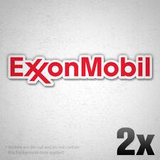 2x EXXON MOBIL Logo Vinyl Sponsor Decal Sticker Gas Petroleum F1 Racing Team