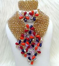 PrestigeApplause Bold Crystal Gold Mult Bridal African Naija Beads Jewellery Set