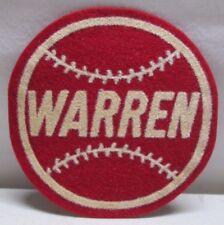 Vintage Baseball Patch Warren Round Felt Wisconsin Red 3 1/2 inch