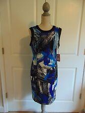NWT Vince Camuto Sleeveless Sheath Art Inspired Bright Blue Dress~ size 8
