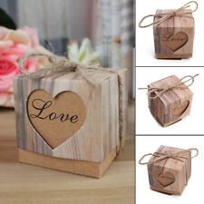 50pcs Wedding Candy Boxes Paper Love Heart Kraft Party Favor Gifts Packaging Bag