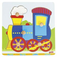 Holzpuzzle  Steckpuzzle Lokomotive 5 Teile Goki 57551 neu Sperrholz