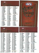 2016 Select Certified CHECK LISTS (4 Cards)