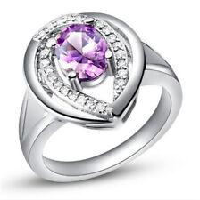 HOT Women Purple Gemstone Zircon Crystal Silver Wedding Ring Jewelry Size 7