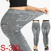 Womens' High Waist Pants Slimming Leggings Faux Jean Casual Elastic Long Pants