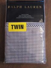 RALPH LAUREN TWIN FLAT Sheet Classic Gingham Polo Navy Blue Check NEW- RET $115