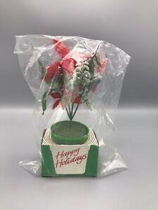 NIP VTG 1979 SNP Chicago Holiday Decor Silk-Like Fake Plastic Poinsettia Plant