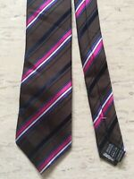 "Marks and Spencer M&S brown smart striped mix 100% silk tie 3"" wide 56"" long"