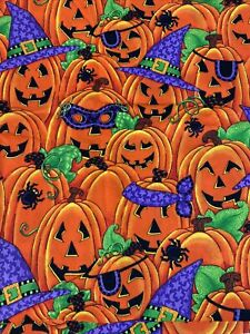 SPRINGS INDUSTRIES Fabric HALLOWEEN PUMPKINS Witches Hats Purple Spiders 2 yds