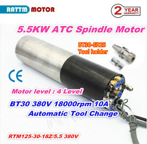 ATC 5.5KW 380V BT30 Automatic Tool Changer Water Cooling Spindle Motor 600Hz 10A