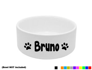 2x PERSONALISED DOG BOWL STICKERS DISH CUSTOM PET PUPPY FOOD WATER TREAT DECALS