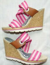 Womens Pink SKECHERS Cork Wedge Platform Heels Sandals Shoes Sz 8