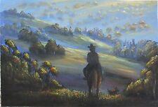 Original Australian Landscape painting in acrylic of horse rider
