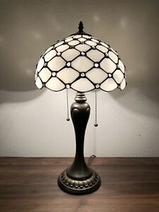 """Tiffany Style Table Lamp Crystal Beans White Stained Glass Antique Vintage H22"""""""