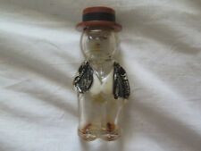 NOVELTY GLASS PERFUME BOTTLE in SHAPE of MAN with WAISTCOAT BAKELITE TOP c1930s